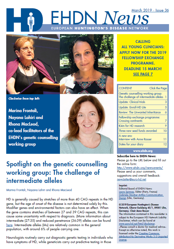 EHDN Newsletter March 2019 Frontpage